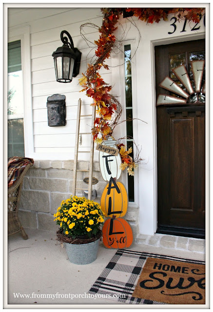 Fall Porch Decorations-Farmhouse-DEcor Steals Fall Y'all Sign-Yellow Mums-From My Front Porch To yours