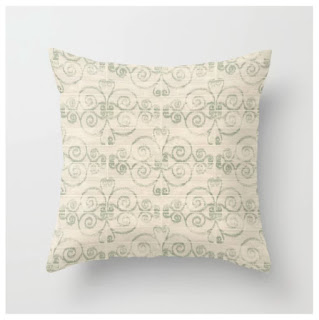 Wooden Diamond Scrolled Ikat Pattern Throw Pillow by WickedRefined - Nicole Demereckis