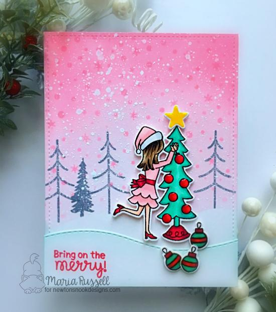 Holiday decorating Card by Maria Russell | Christmas Trimmings Stamp Set, Festive Forest Stamp Set and Petite Snow Stencil by Newton's Nook Designs #newtonsnook #handmade