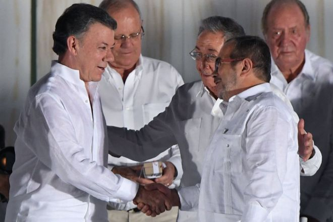 Colombia's President Santos donates Nobel money to conflict victims
