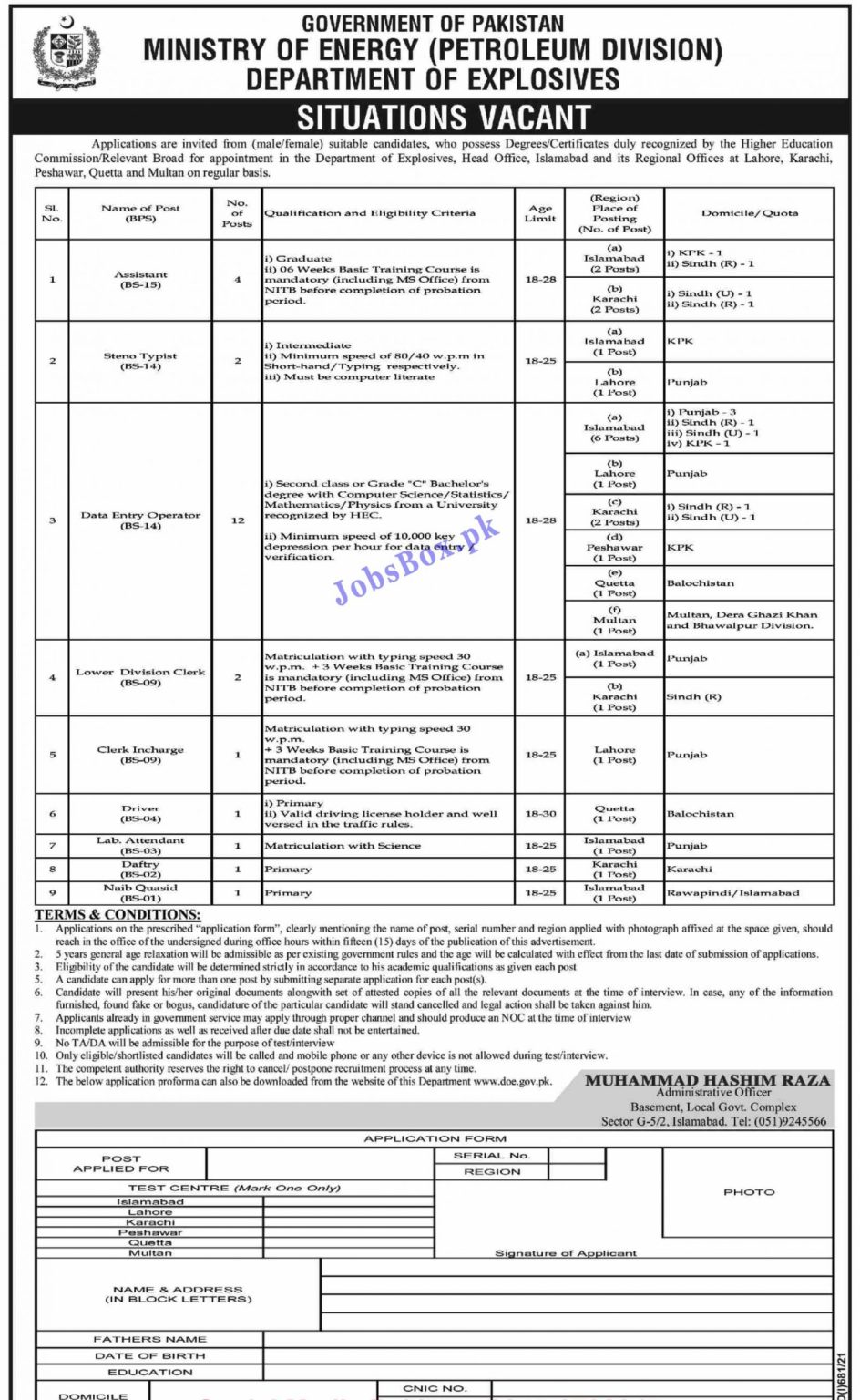 Ministry of Energy Government of Pakistan Jobs 2021 – Application Form