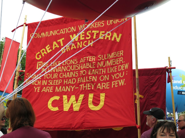 Communication Workers Union Banner with Shelley quote.