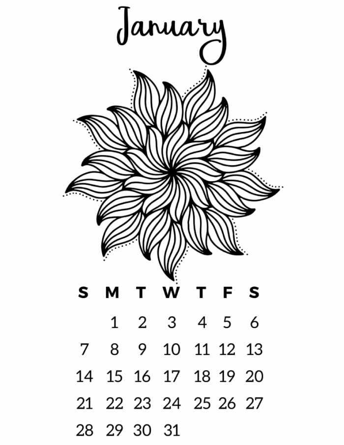 black and white calendars