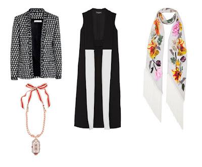 Жакет, жилет, длинный шарф и подвеска