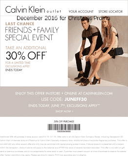 Calvin Klein coupons december 2016