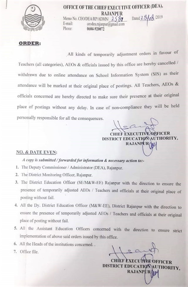 CANCELLATION OF TEMPORARILY ADJUSTMENT ORDERS OF TEACHERS IN DISTRICT RAJANPUR