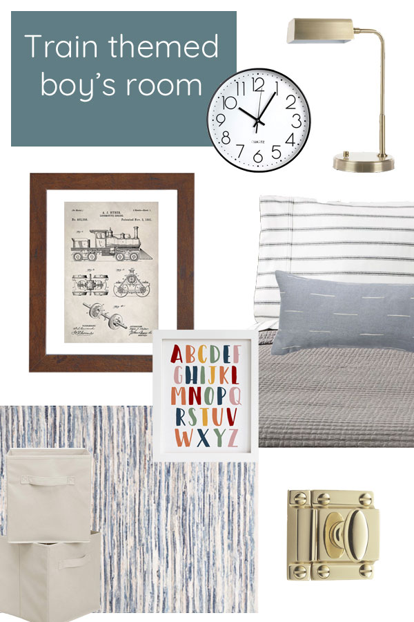Design mood board. Train themed toddler boy's bedroom with touches of vintage and modern. Color blocked walls, blue doors, and antique furniture.