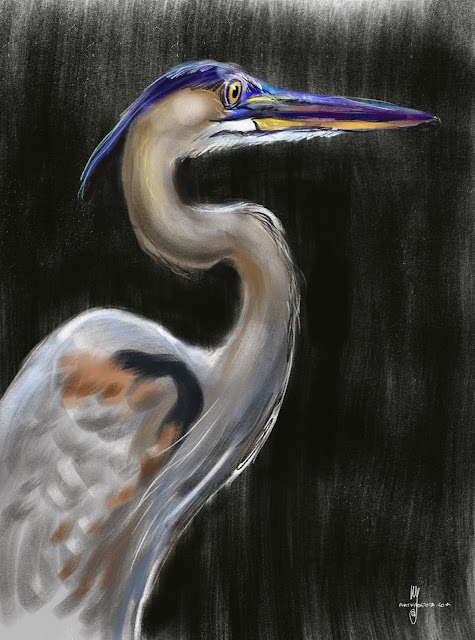 Grey Heron bird painting by Artmagenta