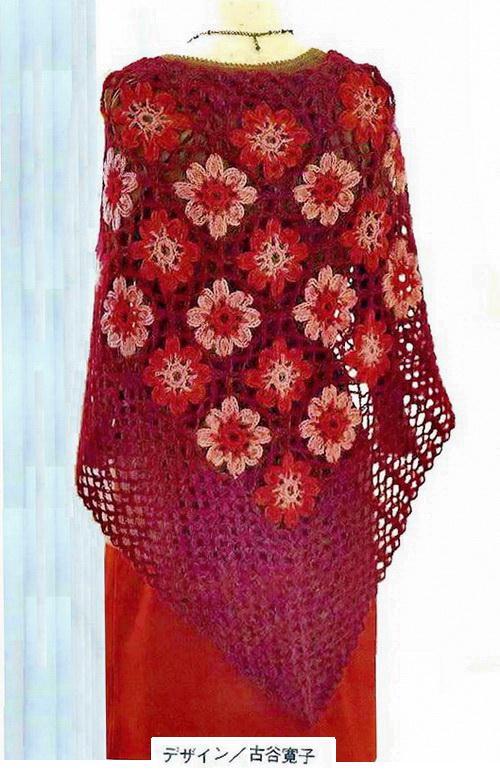 Triangle Shawl With Crochet Pattern -  Crochet Flowers Shawl