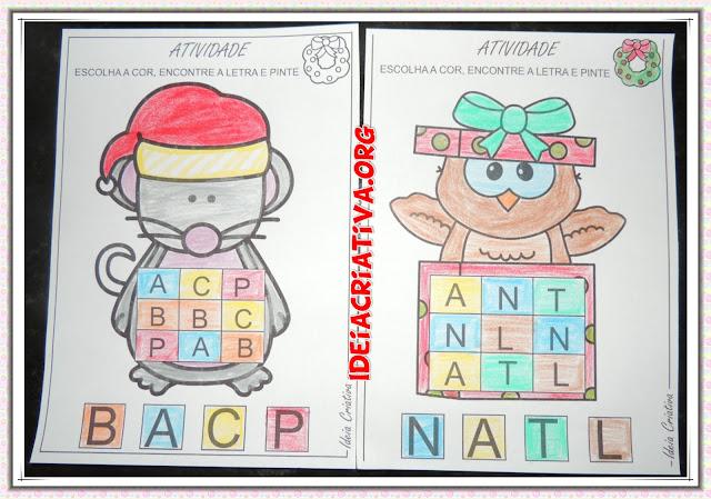 Atividade Pintar letras obedecendo critérios de cores