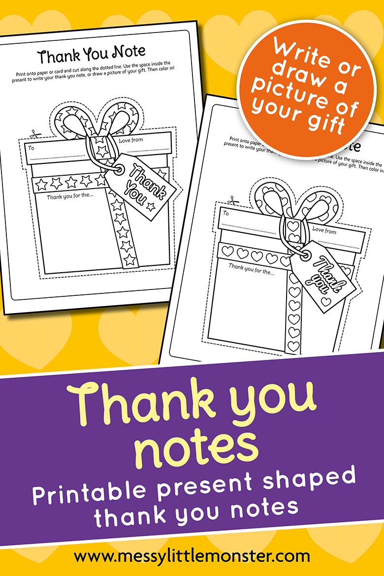 free printable thank you cards for kids to make