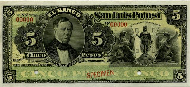 Mexico currency money Pesos banknote Banco de San Luis Potosi