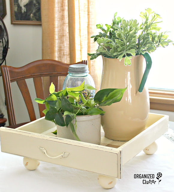 Repurposed Drawer House Plant Tray