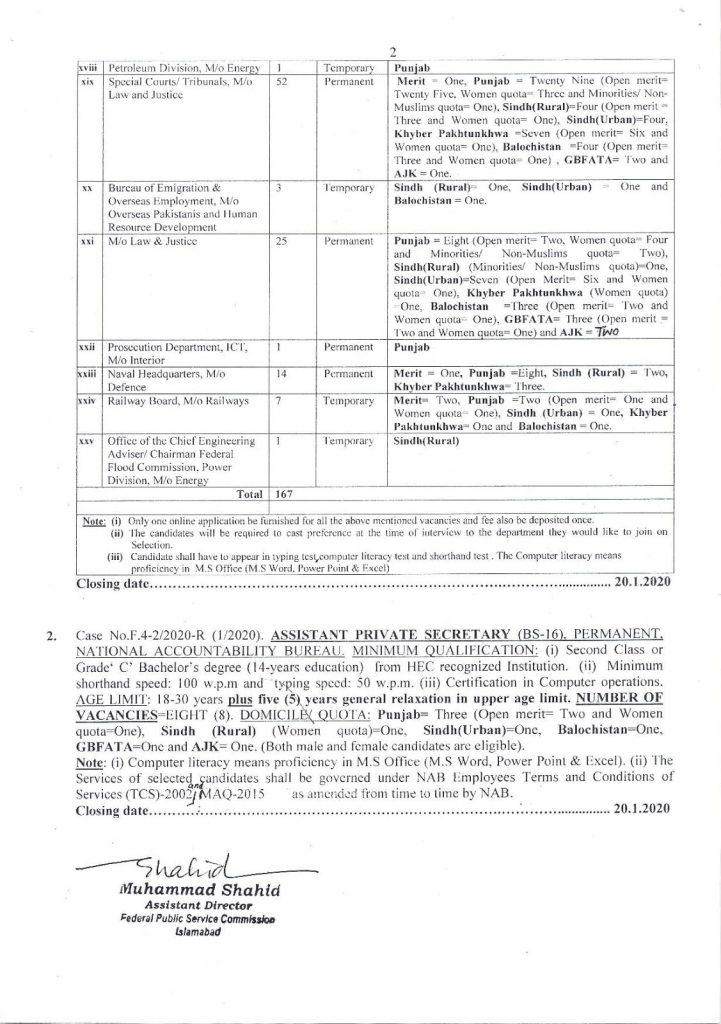 FPSC Jobs 2020 latest advertisement Apply Online