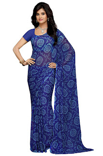 Amazon plain pure chiffon sarees with zari border and designer blouse under 1000-online shopping
