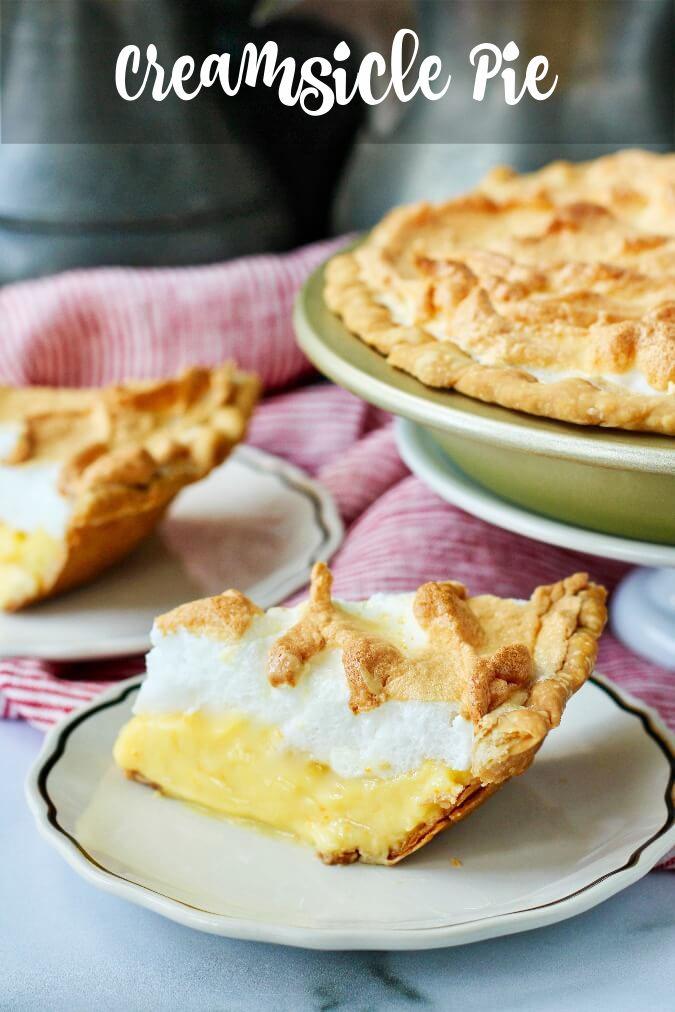 Creamsicle Meringue Pie with mandarin oranges and flaky pie crust