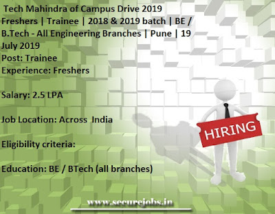 Tech Mahindra Of Campus Drive 2019 Freshers Trainee 2018 2019 Batch Be B Tech All Engineering Branches Pune 19 July 2019 Secure Jobs Govt Pvt Walk In Freshers Jobs In India