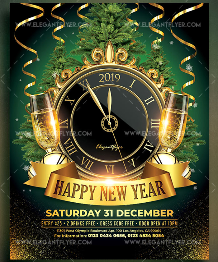 download happy new year flyer psd template free