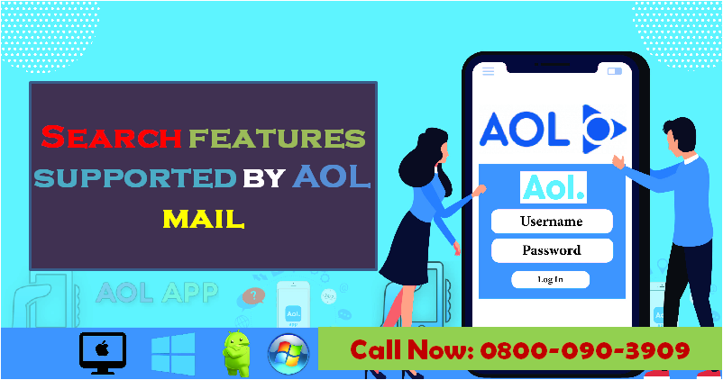 The Search features supported by AOL mail
