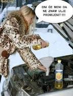 Plavuša sipa ulje u auto