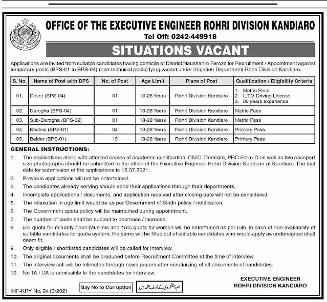 Executive Engineer Sindh Rohri Division Jobs 2021 – Latest Jobs in Karachi 2021
