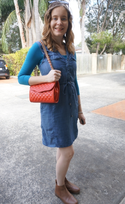 Away From Blue | Spring Jeanswest Rachel Lyocell chambray dress ankle boots red bag