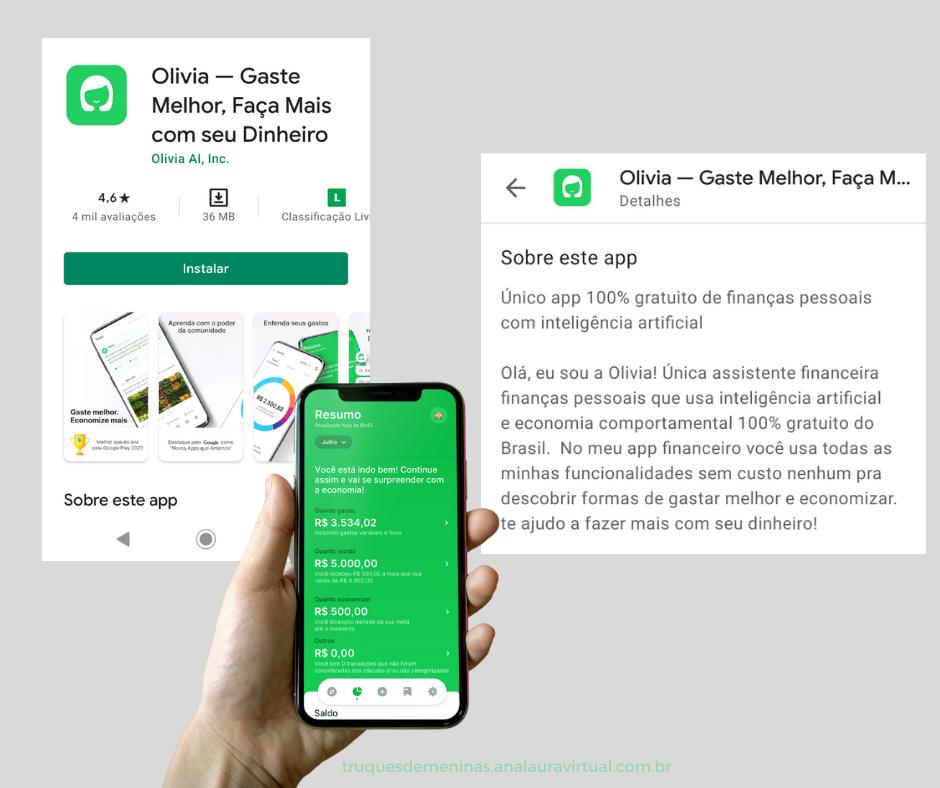 como fazer download app Olivia organizacao financeira
