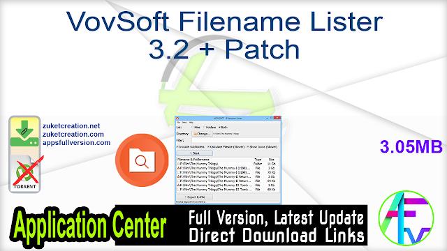 VovSoft Filename Lister 3.2 + Patch