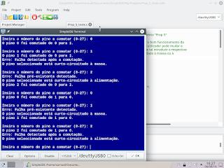 Programa de teste a correr no terminal do SimpleIDE.