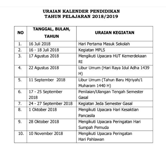 Kalender Pendidikan Provinsi Jawa Tengah Tahun Pelajaran