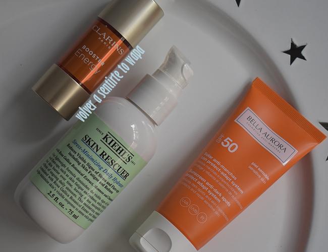 Rutina facial: tratamientos iluminadores de Clarins y Kiehl's y protección solar de bella aurora