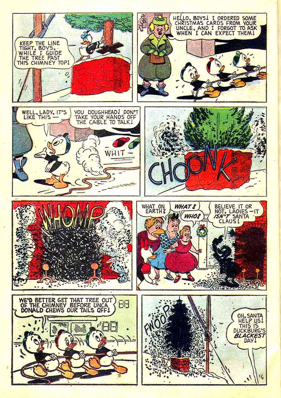 Christmas Parade v1 #26 dell donald duck comic book page art by Carl Barks