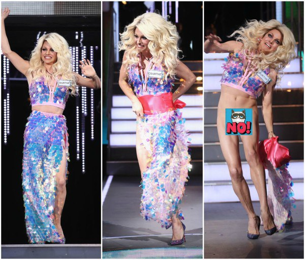 Courtney Act who tripped while entering the house at the shows debut on Friday night. The audience got an eyeful as they saw the Australian drag queens penis tucked and taped up! Courtney who identifies as gender fluid and uses they/them pronouns when not in drag looked absolutely horrified as the stunning sequined skirt flew off. MirrorUk reports that