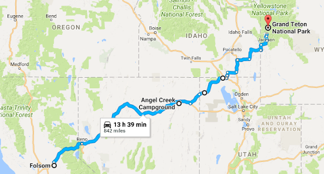 Map of route from Folsom, CA to Grand Teton National Park