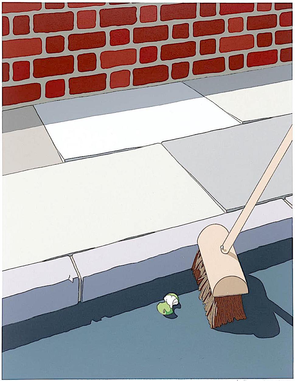 Jeffery Edwards art 1972, a broom cleaning the street