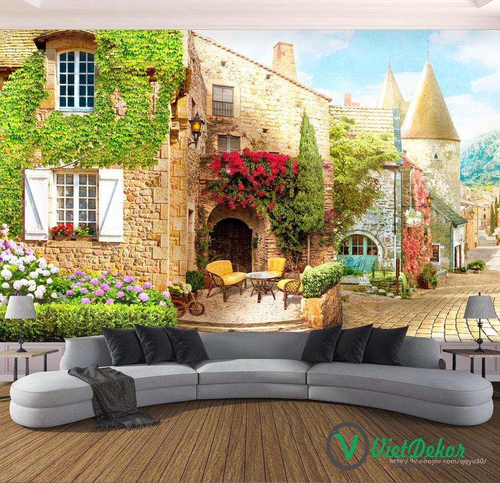 Tranh dán tường 3d phong cảnh phong cách nhật