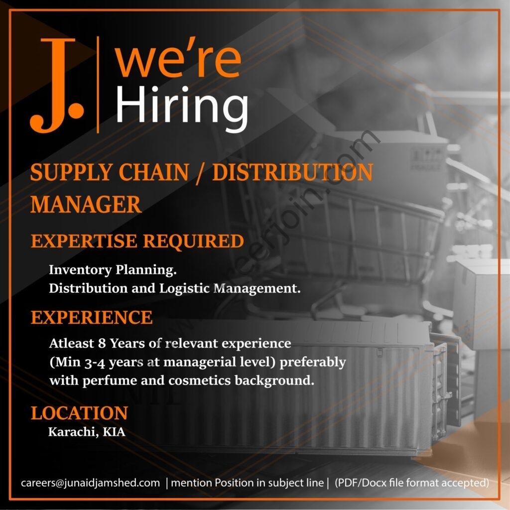 careers@junaidjamshed.com - Junaid Jamshed Pvt Ltd Jobs 2021 in Pakistan