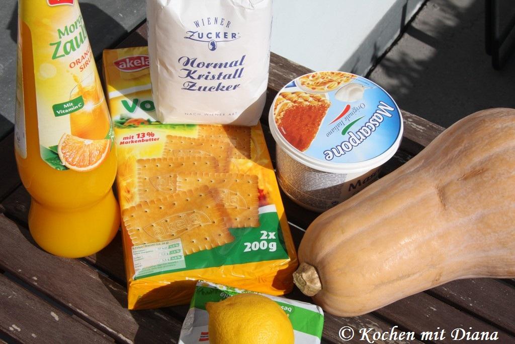 Zutaten Kürbis-Orangen Cheesecake