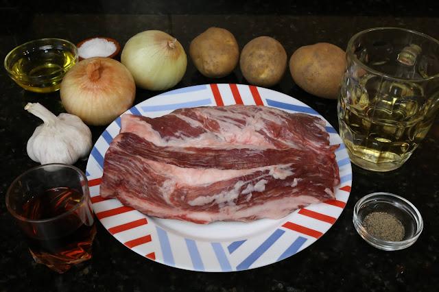 Ingredientes para cabezada de cerdo ibérico al horno
