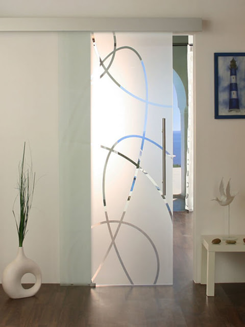 Matte sliding door with pattern