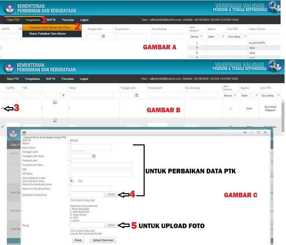 Solusi Memperbaiki Data Master Dan Upload Photo Di Verval Ptk Sd Negeri Tambaharjo