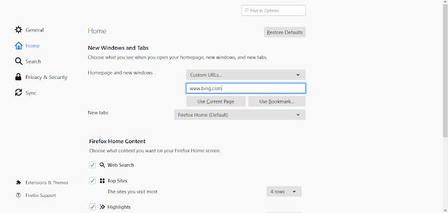 Set A Default Home Page