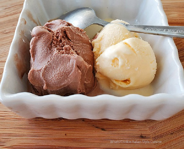 this is chocolate and vanilla ice milk a scoop of each