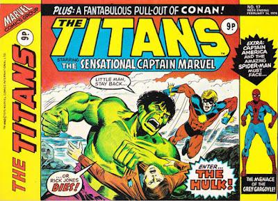 Marvel UK, the Titans #17, Hulk vs Captain Marvel