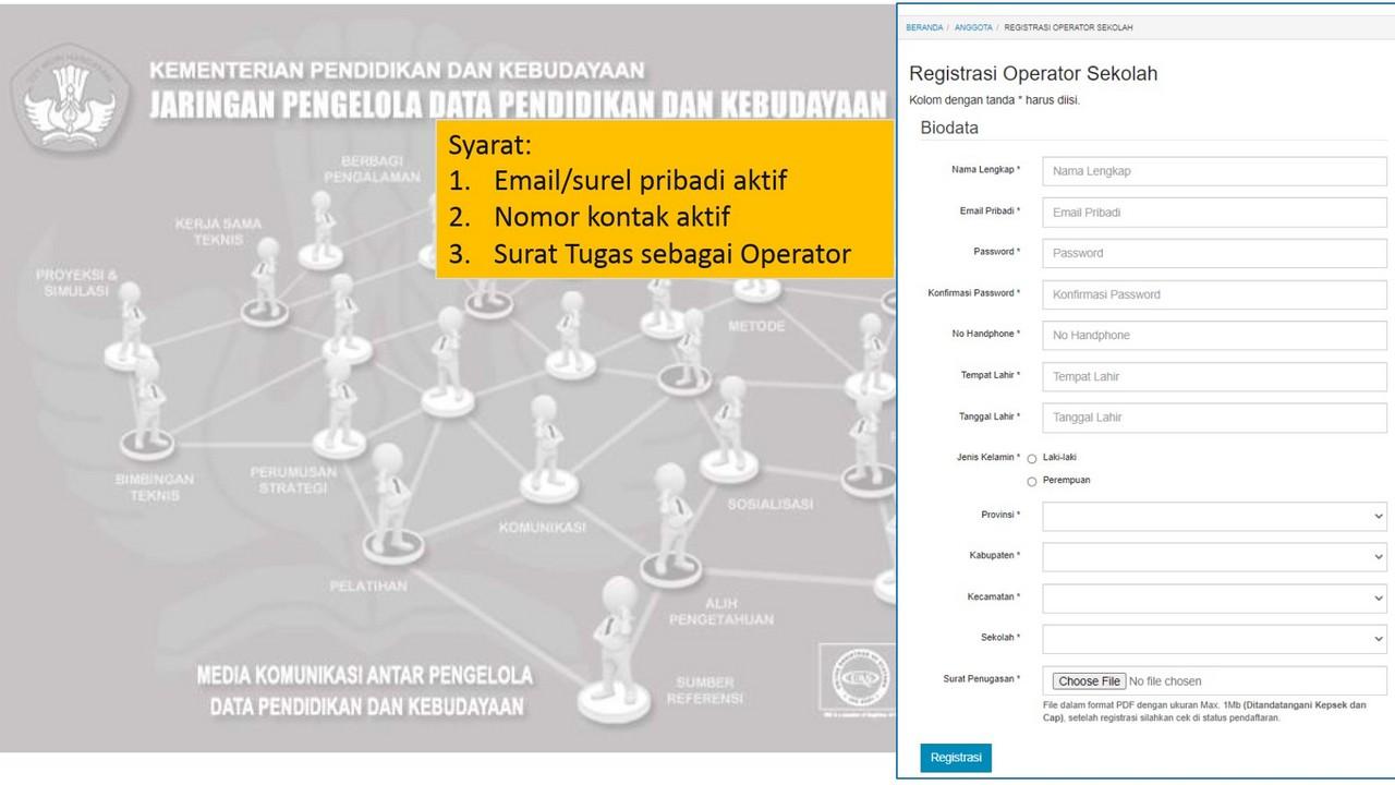 registrasi operator sekolah di sdm data kemdikbud