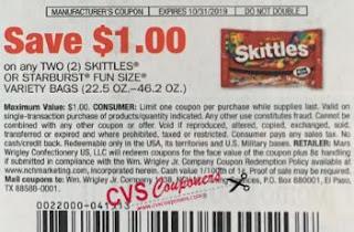 $1.00/2 Skittles Or Starburst Fun Size Varity Bags