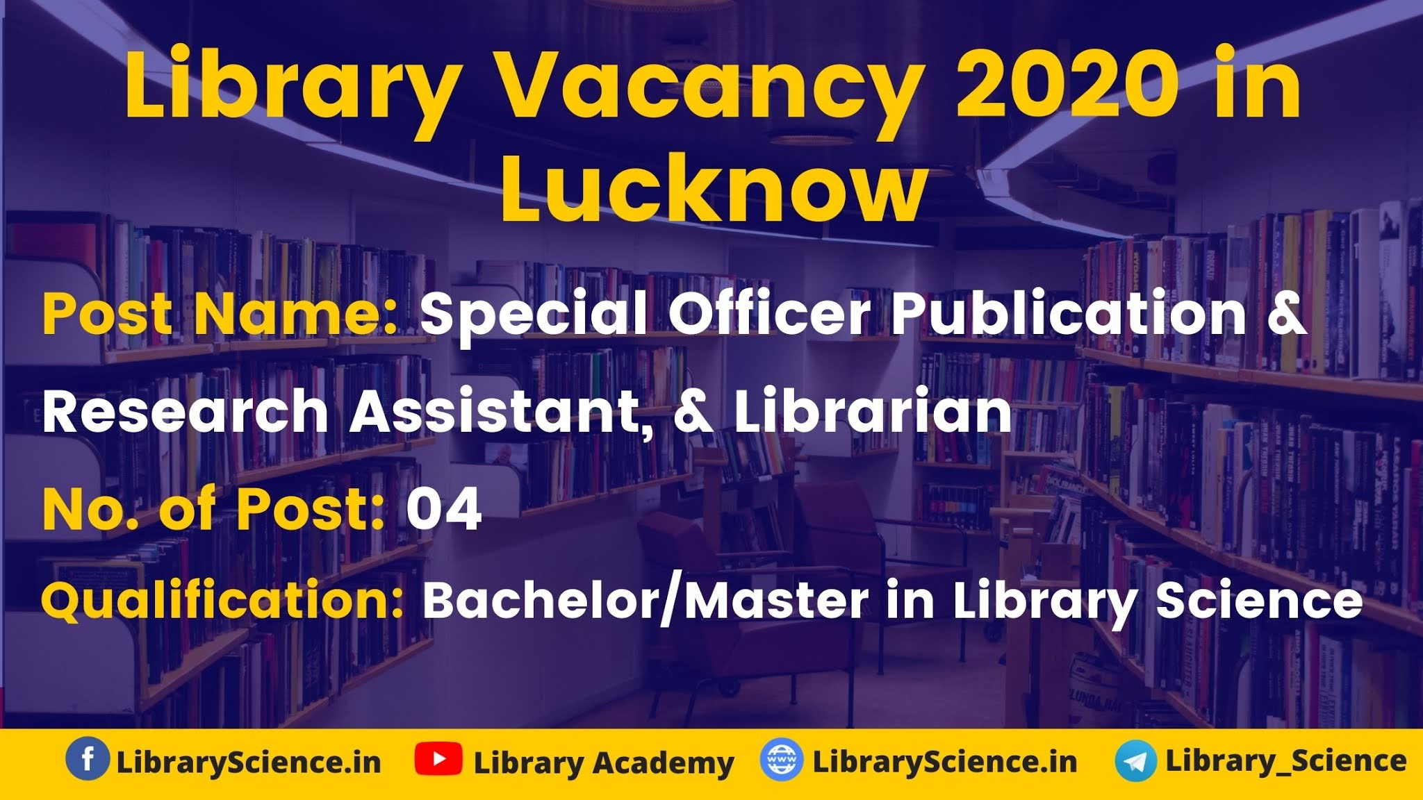 Library vacancy 2020 in Lucknow