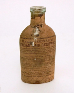 Kristin Holt | Victorian-Americans Cure Baldness and fight gray hair. Photo of Antique Hall's Vegetable Sicilian Hair Renewer as sold by WorthPoint. See link to WorthPoint's site.