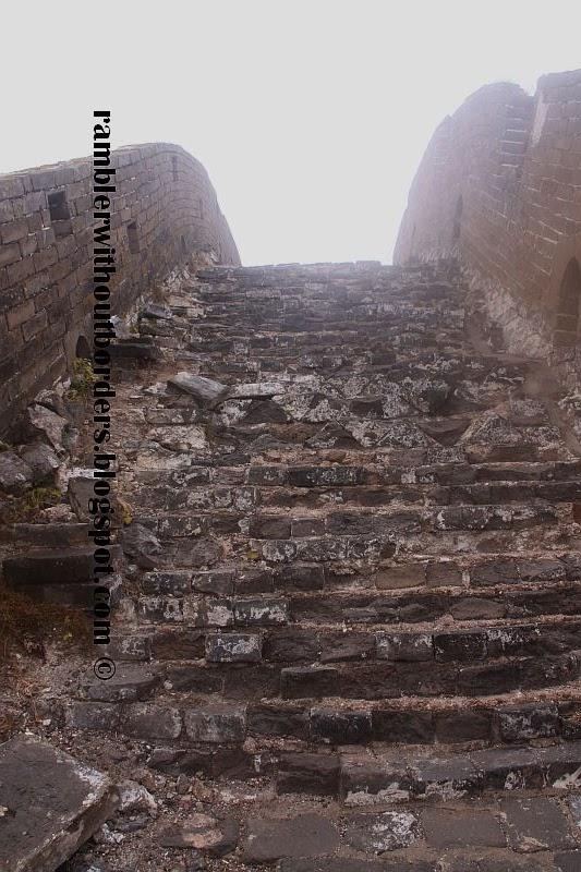 Crumbling stairs at Jinshanling Great Wall section, Beijing, China