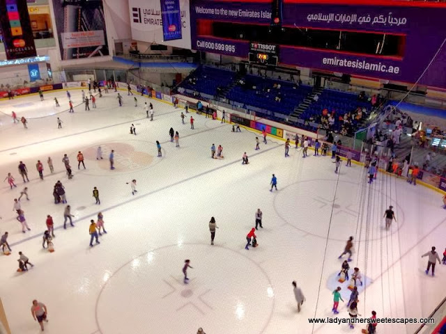 an aerial view of Dubai Ice Rink from The Dubai Mall's 3rd floor